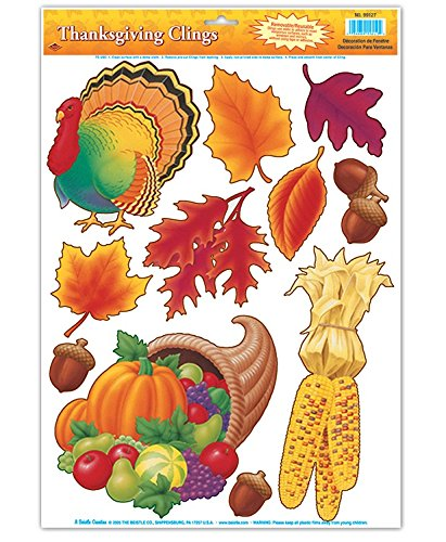 Beistle Club Pack of 132 Thanksgiving and Fall Harvest Window Cling Decorations 17'' by Beistle