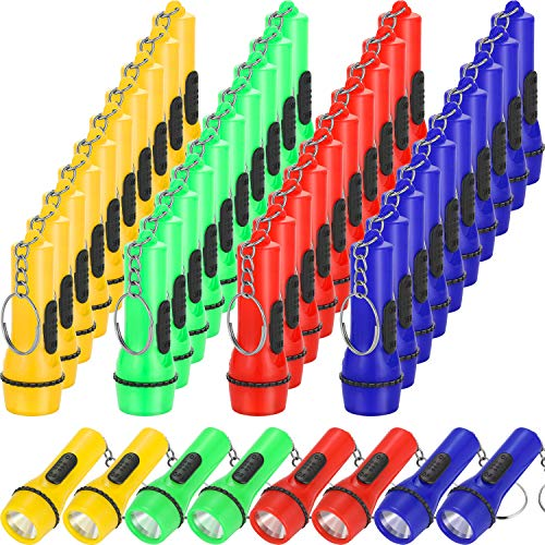 48 Pieces Mini Flashlight Keychain Assorted Colors Toy Flashlight for Hiking Camping Party Favors