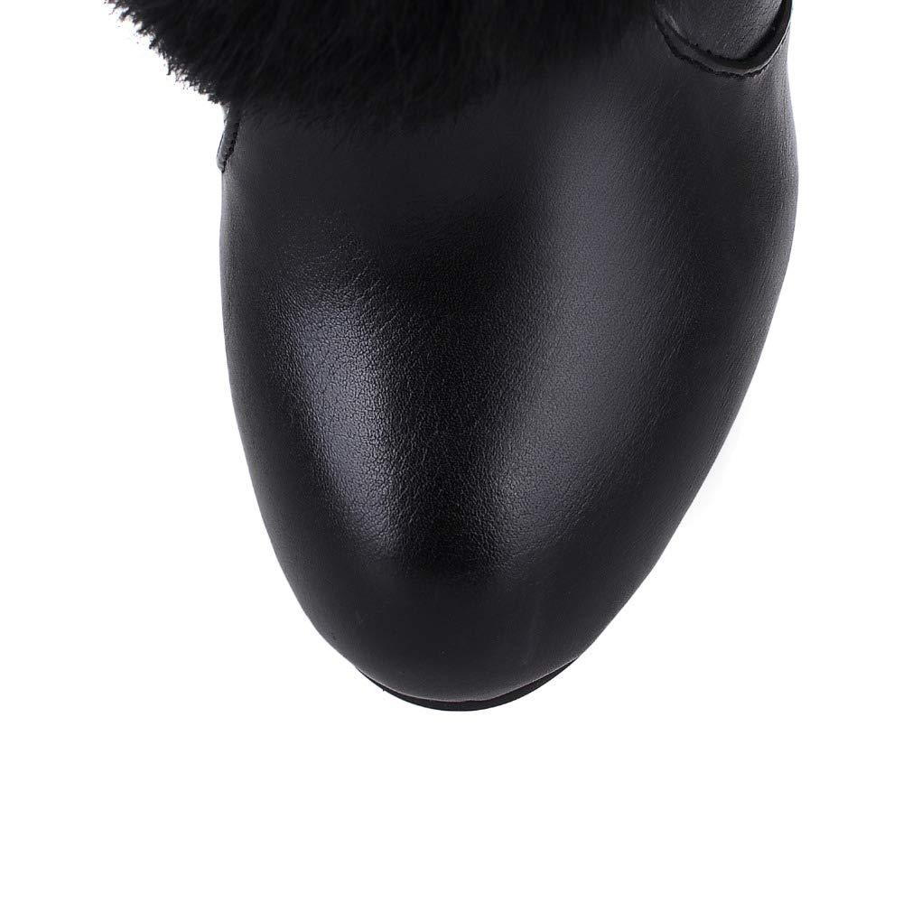 Frauen Kunstpelz Stiefeletten Winter High Heel Stiefel Stiefel Stiefel Slip-On Solide Quadratische Ferse Damen Wedges Schuhe d54fc1