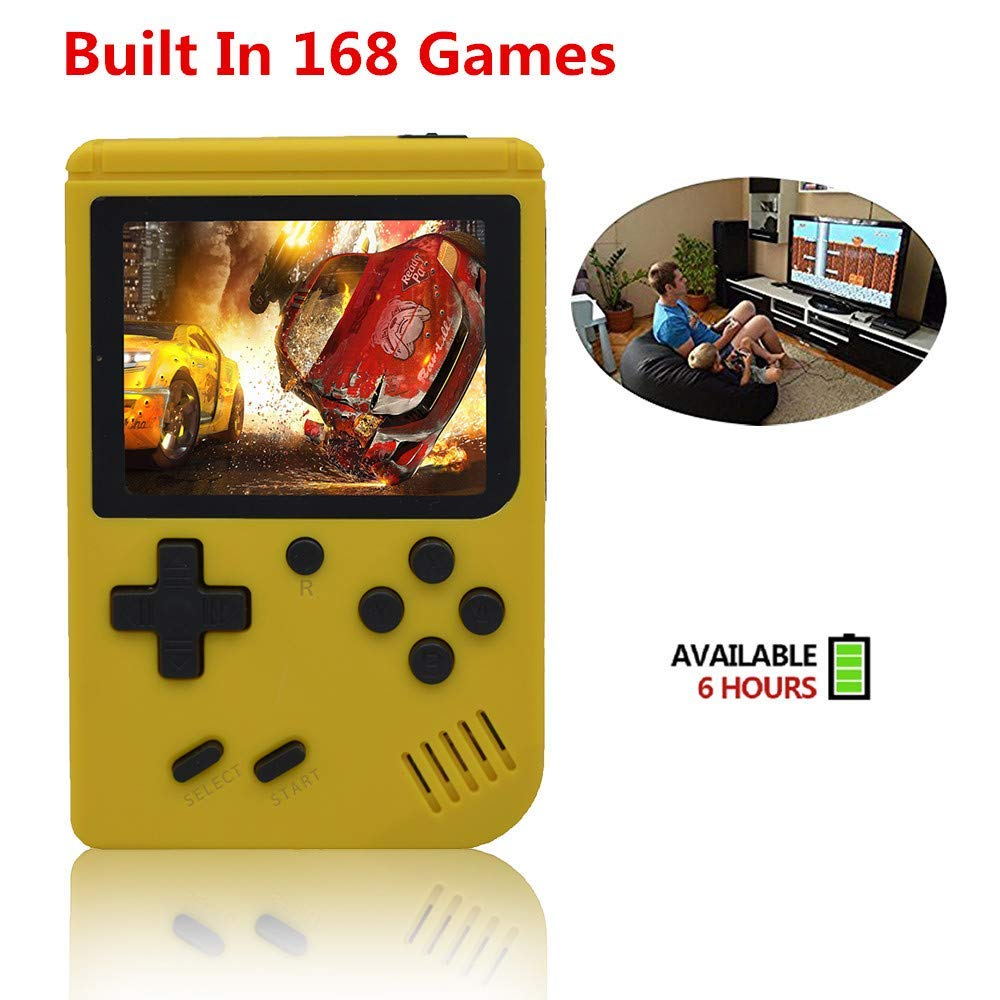 FLYFISH Handheld Game Console, Retro FC Game Console 3 Inch 168 Classic Games , Birthday Present for Children -Yellow by FLYFISH (Image #2)