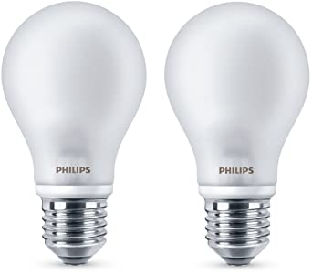 Philips LED E27 - Bombillas Estándar, Luz Blanca Cálida, 7 W Equivalentes a 60 W en Incandescencia, 806 lúmenes, Pack de 2