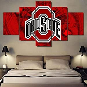 YDME Canvas Prints Art Modern Wall Canvas Wall House Decor Framed Ready to Hang Posters and Prints Ohio State Sports Team – Sport 5 Panel Canvas Art Wall Decor-15080cm