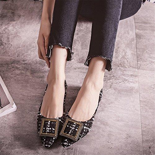 Tacco Casual Asakuchi punta UN piatte For Primavera Lattice SHINIK da Scarpe piatto donna di Size a Scarpe tela Mocassini Autunno Large zzO6wq