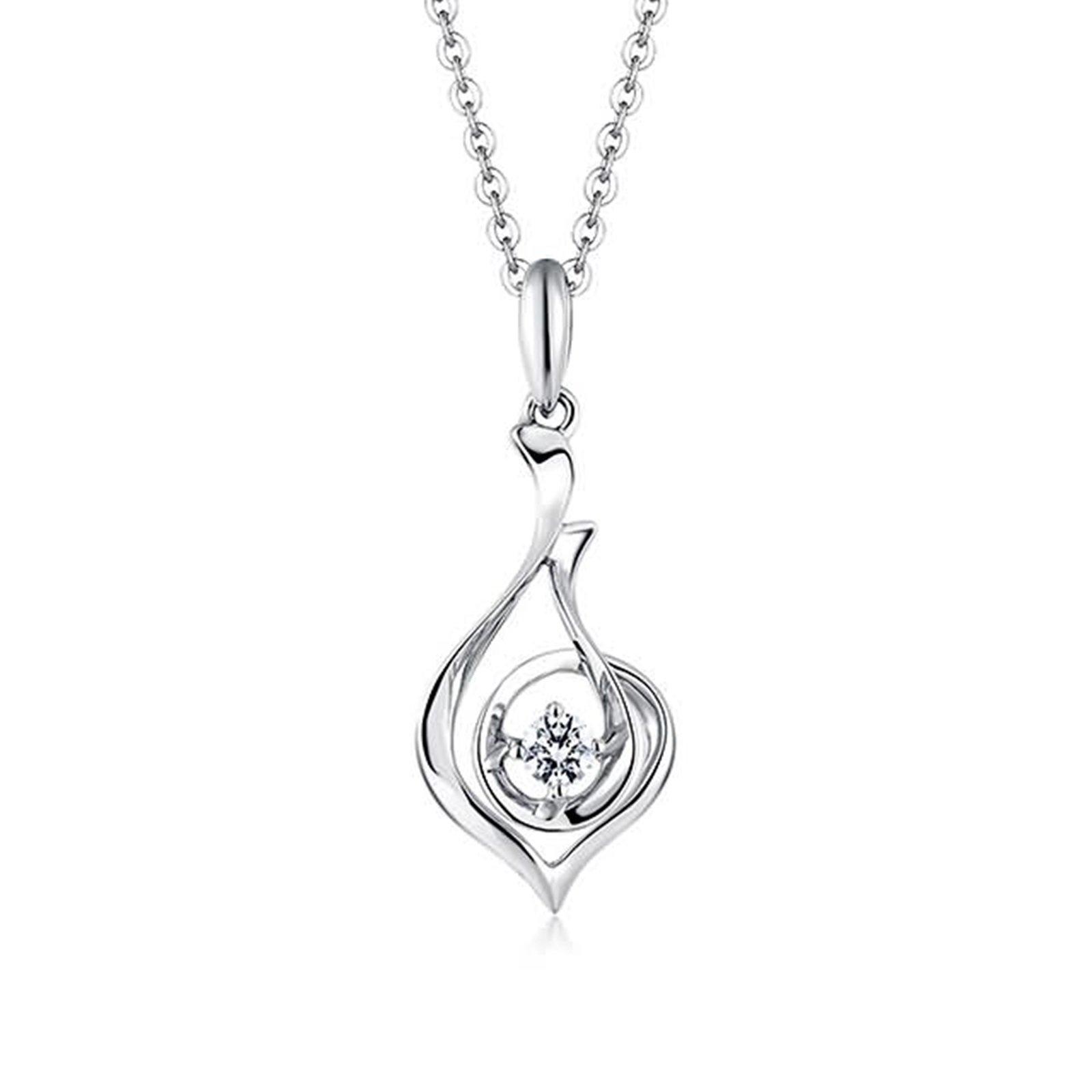 Adisaer 18k(750) White Gold Women Necklace 0.87g 4-prong Setting Round Diamond Wedding Necklace