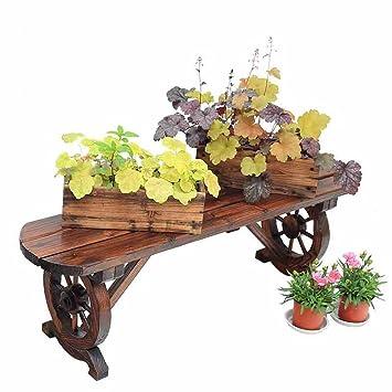 Mehrzweck-Blumenregale Karbonisiertes Holz und Massivholz Balkon ...