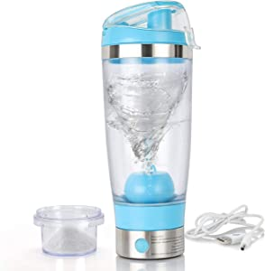Auteve Electric Protein Shaker Bottle,16oz Portable Vortex Mixer/Blender Bottle,Stirring Ball Detachable & BPA Free & FDA Approved (Blue)