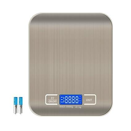 5 kg Báscula de cocina digital foraco Báscula de acero inoxidable cocina electrónica con función de