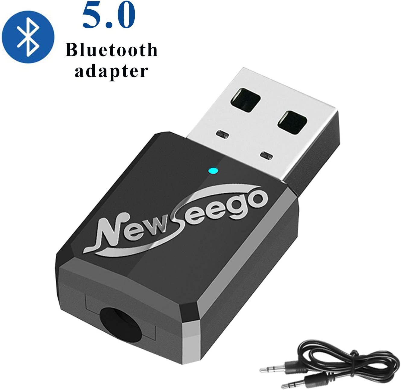 Newseego Receptor Transmisor Bluetooth 5.0 USB, Emisor Audio Bluetooth Adaptador Transmisor A2DP para TV, PC (Cable de Audio de 3,5 mm) para Auriculares, Altavoces y Home Sistemas Estéreo de Coche