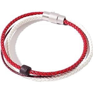 VIVA-ILL 本革 編み込み レザー ブレスレット メンズ 革 3連 レディース ペア 人気 バングル アンティーク カップル レッド 赤