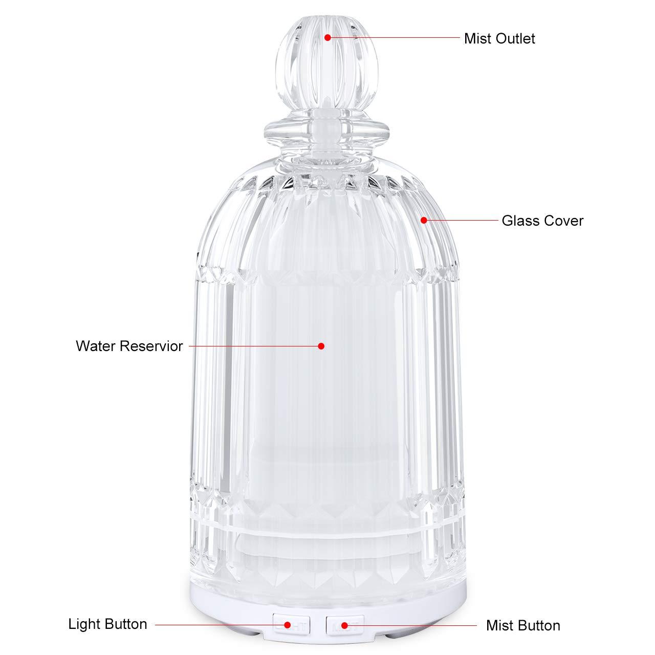 LATITOP Glasöl Diffusor Ultraschall Aromatherapie Diffusor für ätherische Öle mit 7-farbigen LED-Leuchten, automatische Abschaltfunktion (Weiß)