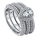 BERRICLE Rhodium Plated Sterling Silver Pear Cut Cubic Zirconia CZ Halo Engagement Ring Set 1.89 CTW