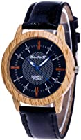 Funique Unisex Students Black PU Leather Imitation Wood Round Dial Quartz Wrist Watch 24cm