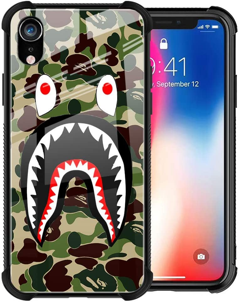 iPhone XR Case, Fashion Camo iPhone XR Case for Boys Men Cool Luxury 9H Tempered Glass Back Cover Slim Fit Shockproof TPU Bumper Protective Case for iPhone XR 6.1inch, Army Green Shark