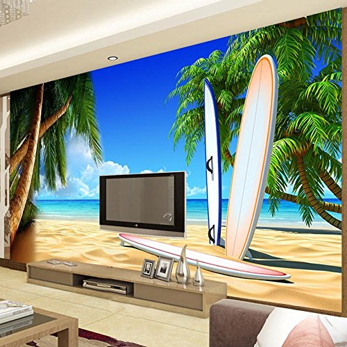 GMYANBZ Custom 3D Room Wallpaper Paisaje Paisaje Junto al mar Mural de Pared para Paredes Playa Árboles Tabla de Surf Papel de Pared para el Dormitorio TV ...