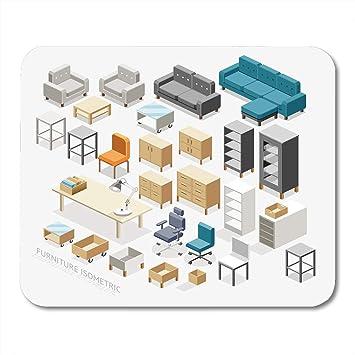 Almohadillas para mouse Caja Muebles de oficina Mesa isométrica ...