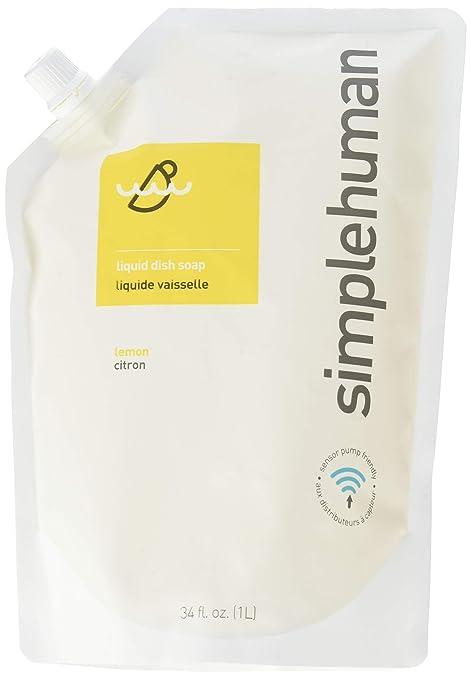 Simplehuman - Bolsa de líquido lavavajillas de repuesto (1 L), aroma de limón