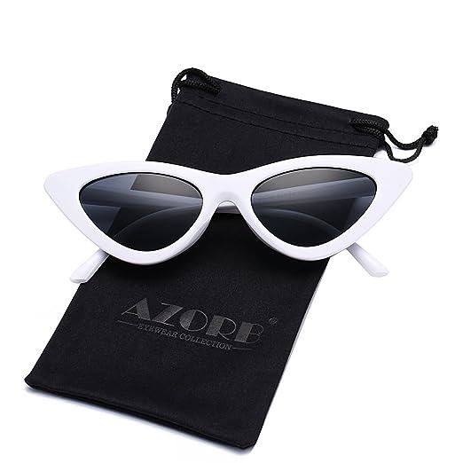 86cc434de7f AZORB Women s Vintage Inspired Fashion Cat Eye Sunglasses Plastic Frame  Colored Lens (White Black