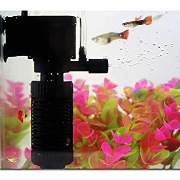 SHJNHAN Aquarium Water Filter, 3in1 Aquarium Internal Filter Oxygen Submersible Water Pump for Fish Tank