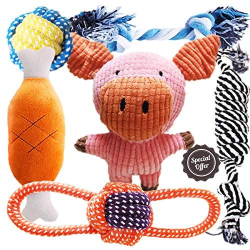 BUIBIIU Dog Toys Puppy Teething Toys Plush Toys Dog Chew Toys Bundle 6 Pack