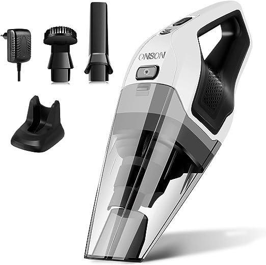 Aspiradora de mano ONSON sin bolsa con batería de iones de litio de 14,8 V, 7 Kpa potente, recargable, sin cable, para coches, escaleras de muebles y pelos de animales: Amazon.es: Hogar