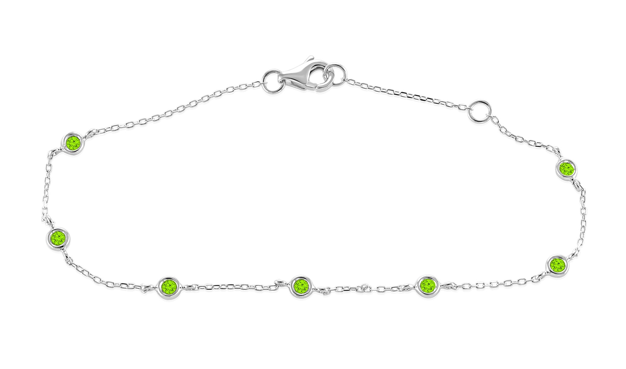 0.15 Ct. 925 Sterling Silver Natural Real Round Cut Bezel Set Green Peridot Chain Bracelet For Women