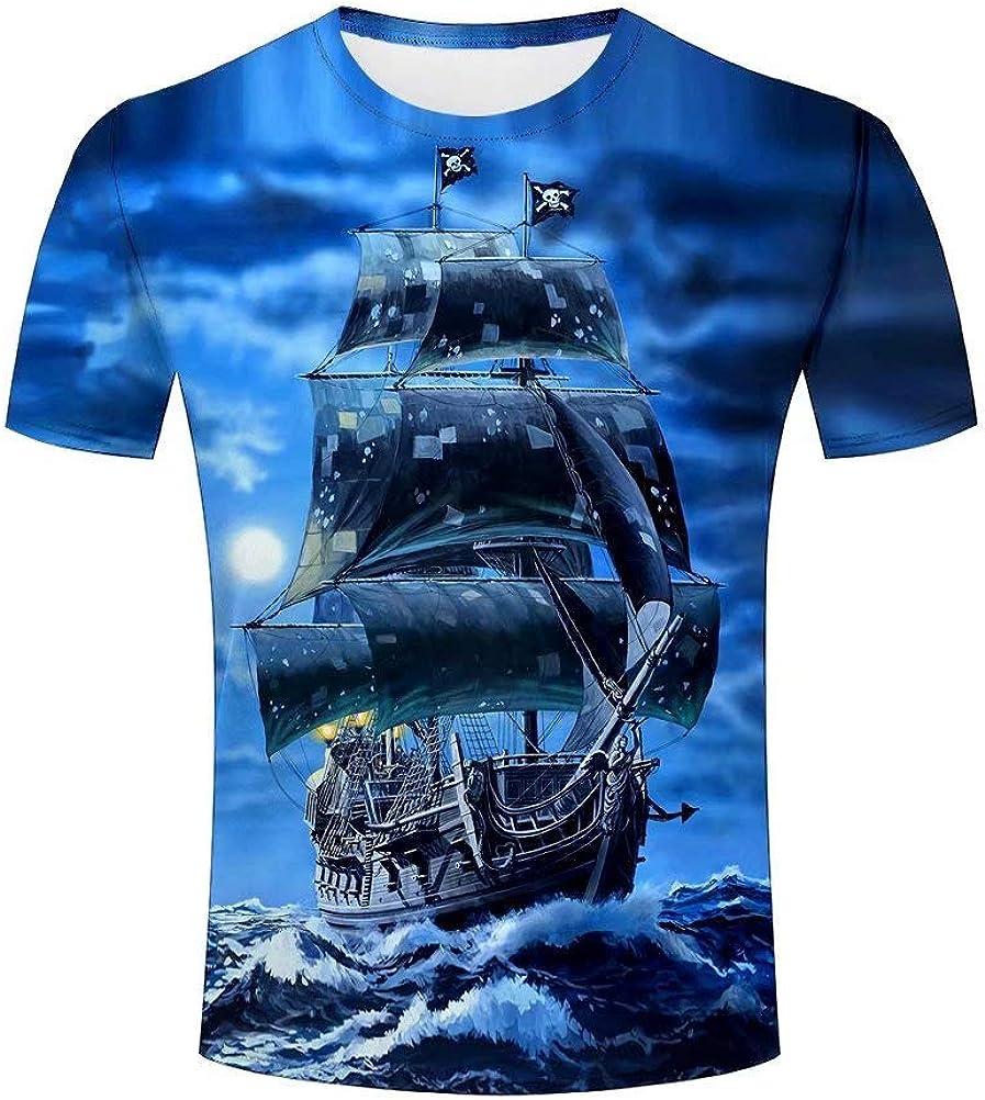 Camiseta de los Hombres Fashion Fantasía Piratas Barcos 3D Imprimir Manga Corta Tees: Amazon.es: Ropa y accesorios