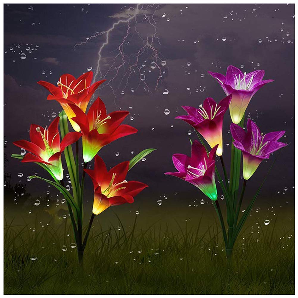 Outdoor Solar Garden Stake Lights,Upgraded LED Solar Powered Light, Multi-Color Auto-Changing 8 Bigger Lily Flower Decorative Lights for Garden,Patio,Backyard(2 Pack,Purple& Red) Purple&Red) Lebreak