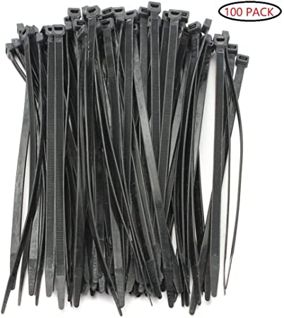 """100 Pack Lot Pcs Black 4/"""" Inch Wire Management Nylon Tie Cable Zip Ties 18 lbs"""