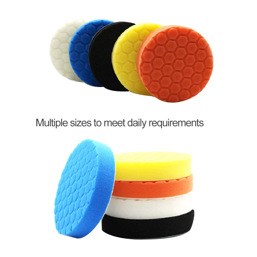 KUKALE Polishing Pad kit 3 inch 80mm Buff Pad for Car Polisher Pack of 5Pcs-Professional Quality Pack of 5Pcs for Car Buffer