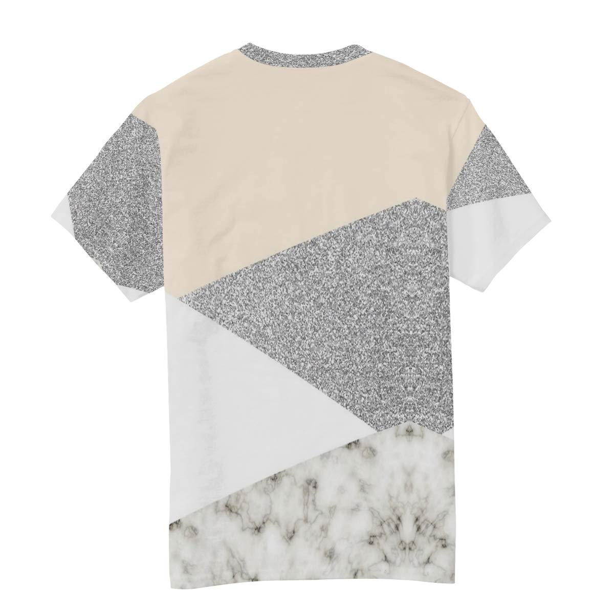 Horatiood Huberyyd White and Silver Marble Mens T Shirts Graphic Funny Body Print Short T-Shirt Unisex Pullover Blouse