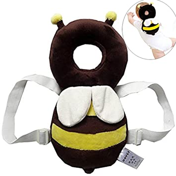 Infant Head Protector Cartoon Bees Infant Head Protection Cushion Padded Drop Resistance Safety Pad Guardian Pillow for Baby to Learn Walk and Run Yellow