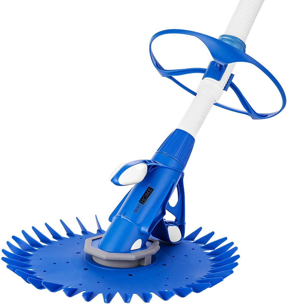 VIVOHOME Upgraded Automatic Inground Above Ground Suction Swimming Pool Sweeper Vacuum Cleaner with 14 2.62 ft Hoses Blue and White