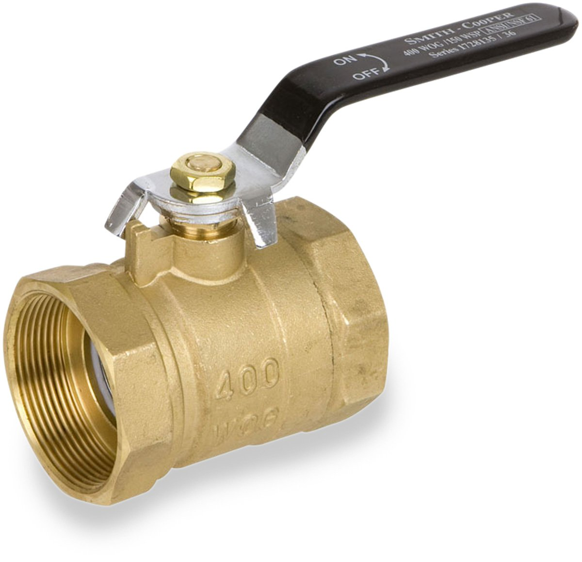 Smith-Cooper International 8135 Series Brass Ball Valve, Inline, Lever Handle, 1-1/2'' NPT Female, Non-Potable Water Use Only
