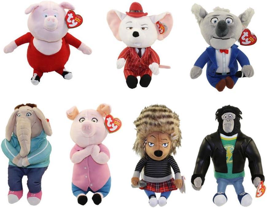TY Beanie Babies - SING - SET OF 7 (Ash, Buster, Gunter, Johnny, Meena, Rosita & Mike)