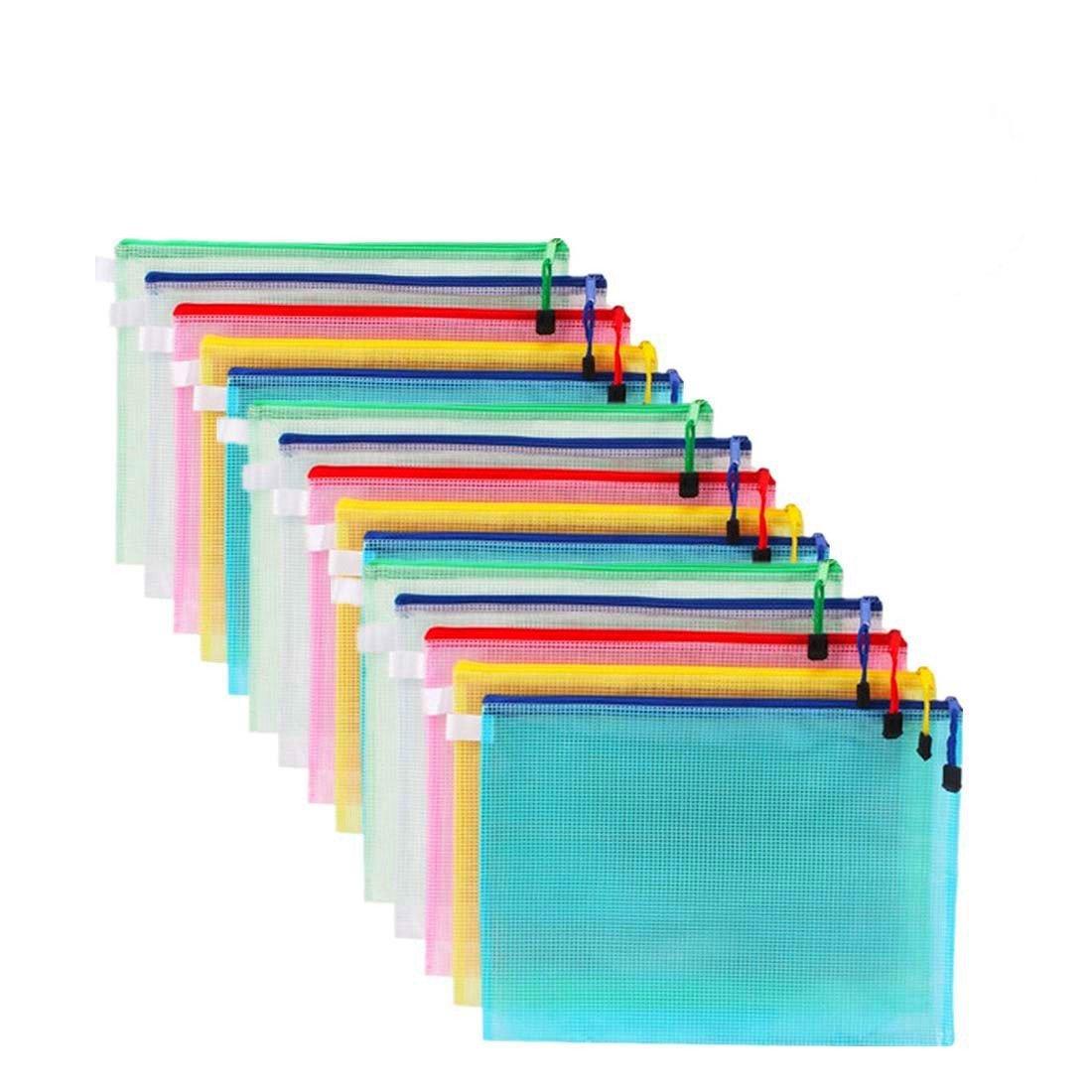 15 Pcs A4 Plastic Mesh Zip File Folder 5 Colors PVC Organizer Storage Bags Waterproof Bags for Office Supplies, Travel Storage Bags