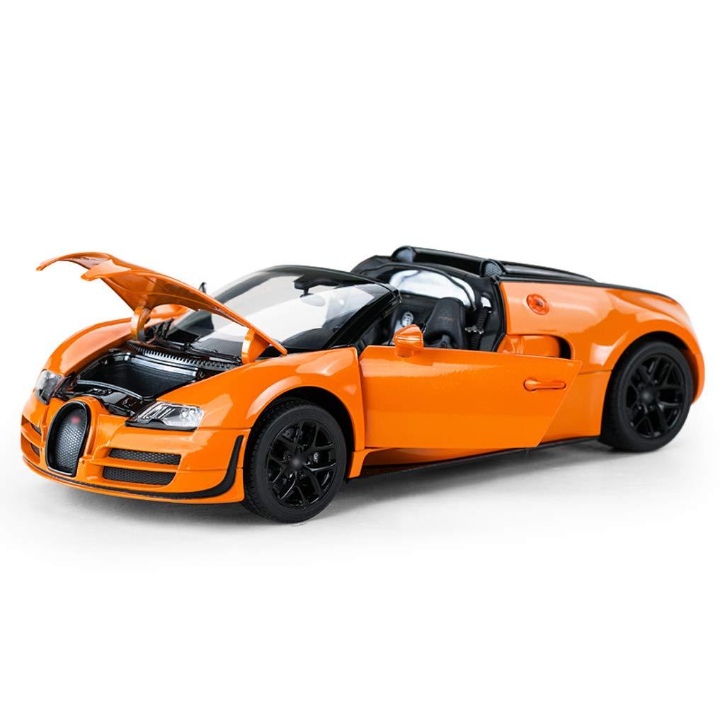 DUWEN-Modelo de coche Bugatti Die Casting Modelo 1:18 Aleación Modelo de Coche de Emulación Boy Toy Car Static Car Model Regalo de los niños (Color : Orange)