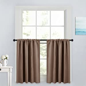 """PONY DANCE Window Treatment Tiers - Blackout Rod Pocket Curtains Home Decor Energy Saving Small Drape Valances for Kitchen/Living Room, 42"""" W x 36"""" L, Taupe, Pack-2"""
