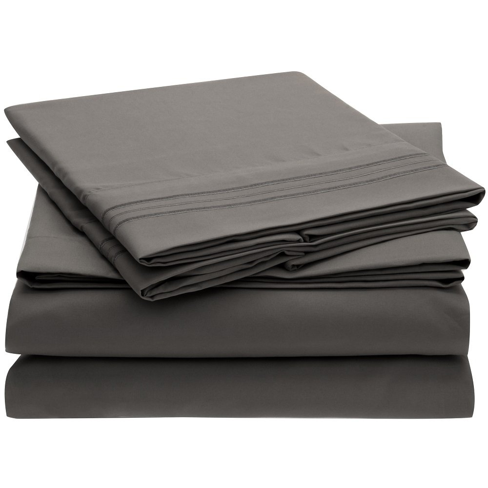 Harmony Linens Bed Sheet Set - 1800 Double Brushed Microfiber Bedding - 4 Piece Queen, Gray