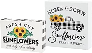 Rustic Charm Sunflower Decor Set of 2 Wood Box Signs   Buffalo Check Black and White  Modern Farmhouse Designs