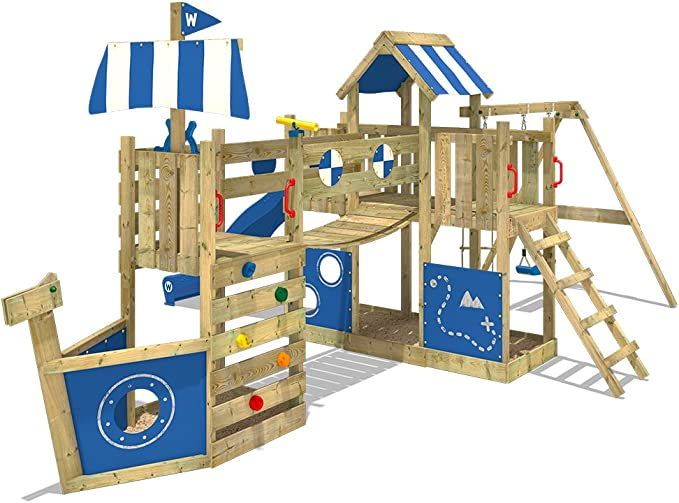 WICKEY Parque infantil de madera ArcticFlyer con columpio y tobogán azul, Casa de juegos de jardin con arenero y escalera para niños: Amazon.es: Bricolaje y herramientas