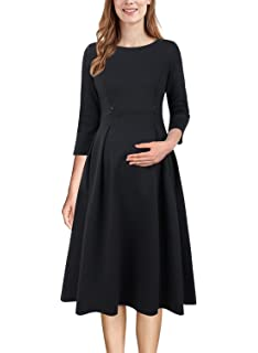 cf038e13ebf3f VFSHOW Womens Mama Maternity Nursing Pockets Pleated Skater A-Line Dress