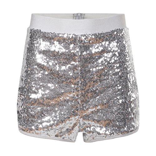 HaoDuoYi Womens Flashy Booty Sequin High Waist Clubwear Party Hot Shorts(M,Silver)