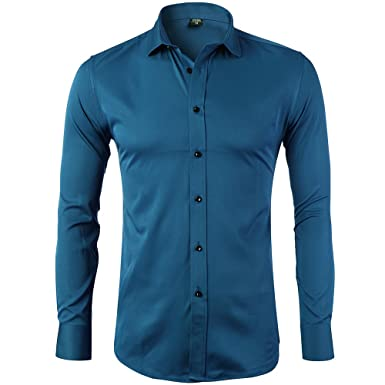 Men's Bamboo Fiber Dress Shirts Slim Fit Solid Long Sleeve Casual ...