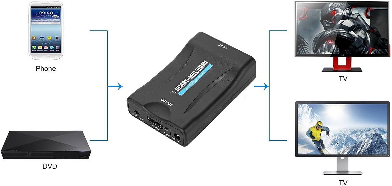 Compuesto de 1080p Scart a HDMI convertidor Audio Estéreo ...