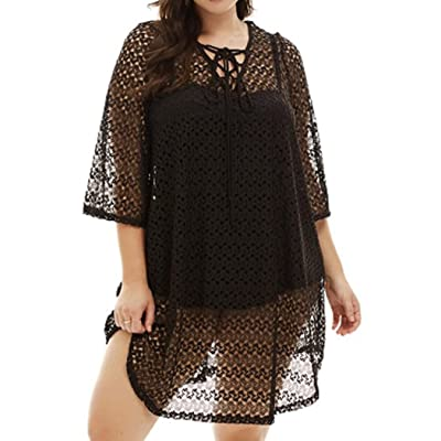 840 - Crochet Lace Plus Size Beach Swim Cover Up Top Dress (3X) Black at Amazon Women's Clothing store