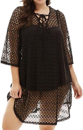 840 Crochet Lace Plus Size Beach Swim Cover Up Top Dress 1x Black At Amazon Women S Clothing Store