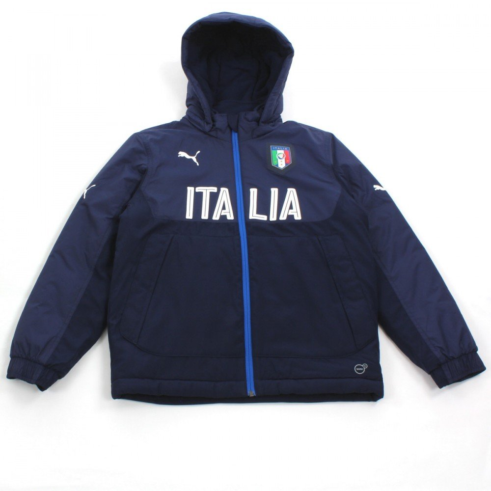 FIGC Italia Bench Jacket peacoat-team power Blau 16 18  Puma