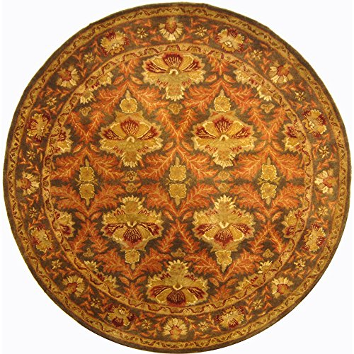 Safavieh AT54B-8R Antiquities Collection Handmade Traditional Oriental Wool Round Area Rug, 8' x 8' Diameter, Sage/Gold