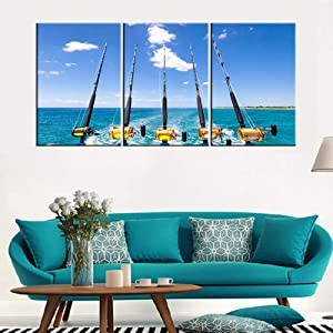 Kitchen Pictures Wall Decor Fishing Rod and Reel Paintings for Living Room Tropical Ocean Scape Artwork 3 Piece Canvas Wall Art House Decorations Framed Ready to Hang Posters and Prints(48''Wx24''H)