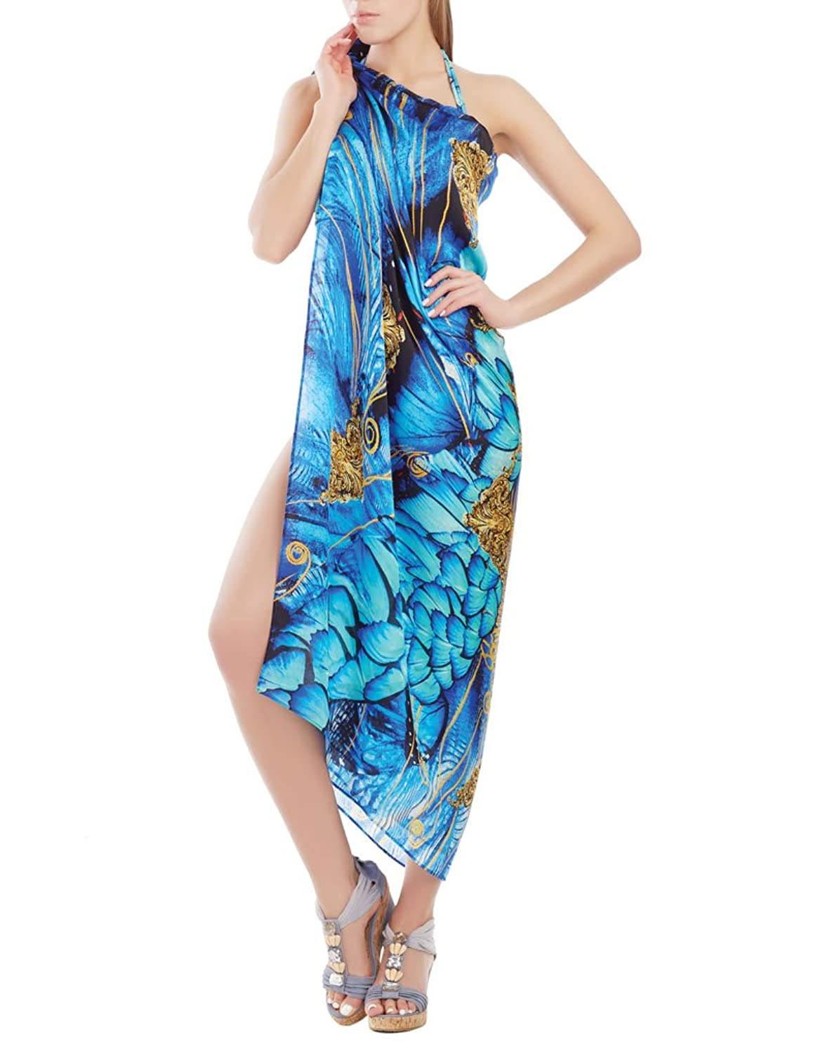 Marc and Andre CU17-03-1703 Women's Blue Butterfly Sarong Pareo